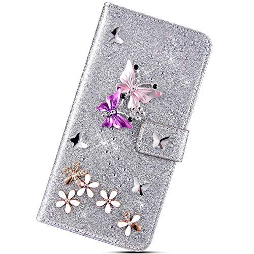 Urhause Glitters Cover Compatibile con Samsung Galaxy A5 2016 Farfalla Brillantini Strass Diamante Bling Custodia in Pelle Libro Flip Portafoglio PU Slot per Schede Kickstand Protettiva Case,Argento