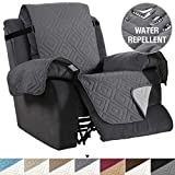 Recliner Cover Reversible Sofa Slipcover Furniture Protector Water Resistant 2 Inch Wide Elastic Straps Recliner Chair Cover Pets Fit Sitting Width Up to 30' (Oversized Recliner, Gray/Beige)