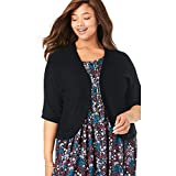 Woman Within Women's Plus Size Rib Trim Cardigan Shrug - 3X, Black by Woman Within