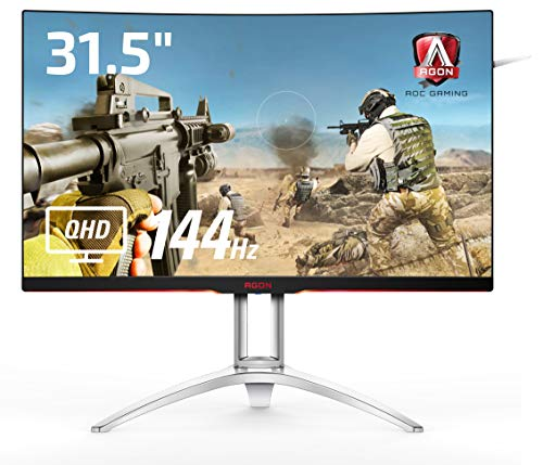 AOC ゲーミングモニター AG322QC4/11(31.5インチ/曲面/144Hz/HDMI/DisplayPort/フリッカーフリー/FreeSync2...