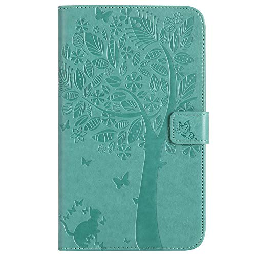 Bestcatgift Tab A 7.0 PU Leather Wallet Custodia, [Embossed Cats And Trees][Wake/Sleep Function][Touch Pen Cover] Smart Flip Cover per Samsung Galaxy Tab A 7.0 inch SM-T280 SM-T285 - Green