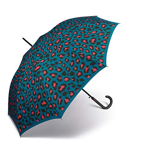 Paraguas de Mujer Largo Automático United Colors of Benetton, Ocho Varillas, 105 cm de diámetro. (Leopardo)