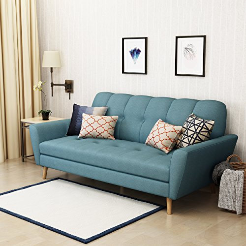 Christopher Knight Home Treston Mid-Century Fabric Sofa, Blue / Natural