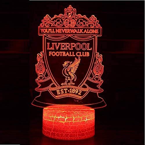 Liverpool Football 3D Illusion Night Light Smart Ambient Light Crack Base LED Table lamp Child Birthday Football Fan Gift