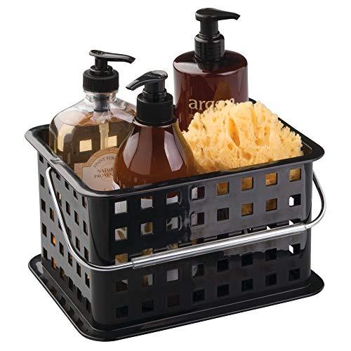 InterDesign Basic corbeille rangement, petit panier salle de bain en plastique pour accessoires de douche et soins, noir