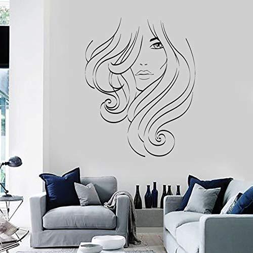 Hermosa chica tatuajes de pared señoras mujeres cabello salón de belleza decoración de interiores vinilo pegatinas de pared pelo largo niñas dormitorio murales