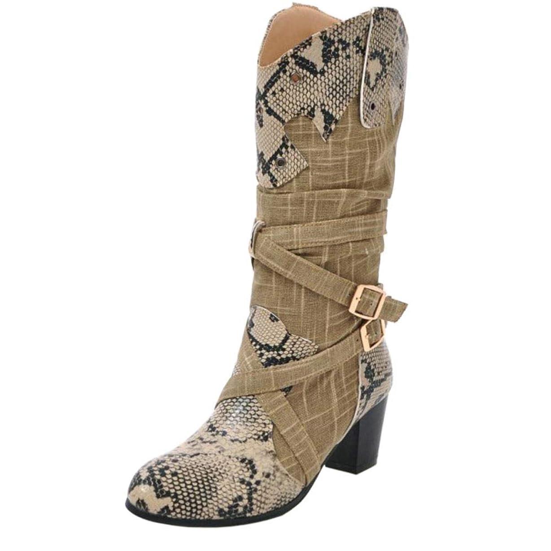 笑寝室を掃除する脱走[Unm] レディーズ ブロックヒール ミッドカーフ ブーツ 引き上げる