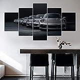 TTTRR Impreso Mural Coche deportivo Porsche 911 5 Piezas Lienzos Cuadros Impresiones En Lienzo HD Póster Enmarcado Arte Moderno Sala De Estar Decoración del Hogar 150*80 CM