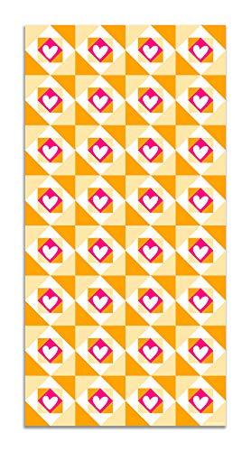 Panorama Agatha Ruiz de la Prada Alfombra Vinílica Hidráulico Crema Baldosas Corazones 80x200cm - Alfombra Cocina Vinilo - Alfombra Salón Antideslizante e Ignífuga - Alfombras Grandes - Alfombras PVC