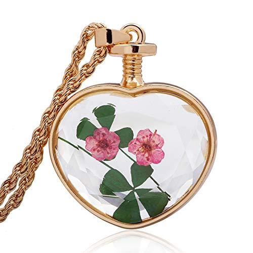 Mode Ol eenvoudige halsketting vrouwen natuurlijke plant gedroogde bloemen monster glas trui ketting