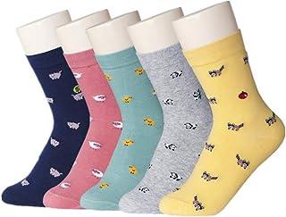 Kingsie レディース 靴下 動物柄 ソックス キャラクター かわいい 暖かい 冬 綿 ガールズ 5足セット