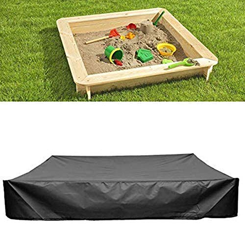 Guer Sandbox Cover, Square Dustproof Sandbox Canopy With Drawstring, Waterproof Children Toy Sandpit Pool Cover, Outdoor Furniture Dust Cover, Black,120x120x20cm
