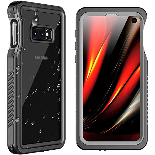 SPIDERCASE for Samsung Galaxy S10E Waterproof Case, Underwater Snowproof Dirtproof Shockproof Full Body Cover Waterproof Case for Samsung Galaxy S10E (Black+Transparent)