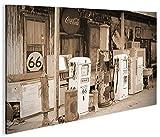 islandburner Bild Bilder auf Leinwand US Tankstelle Sepia
