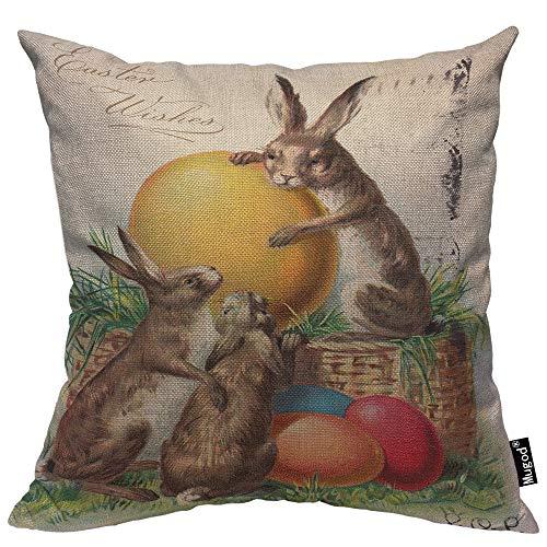 Mugod Rabbit Throw Pillow Cover Vintage Bunny Rabbit Candy Eggs Flower Garden Joyful Cotton Linen Cushion Cover for Men Women Sofa Armchair Bedroom Livingroom 18x18 Inch