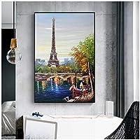 アートパネル ZAJFBH パリタワーセーヌ川の油絵キャンバスアートクアドロポスターとプリント北欧の壁画、リビングルームの装飾 7.8x11.8in(20x30cm)x1psc