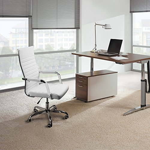 Furmax Ribbed Office Desk Chair Mid-Back PU Leather Executive Conference Task Chair Adjustable Swivel Chair with Arms (White)