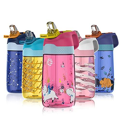 FJbottle Botella de Agua Niños y Niñas Sin BPA Tritan, Sin Fugas, Botella de Agua Deporte con Pajita 450ml para Infantil, Escuela, Corrida, Senderismo y Actividades al Aire