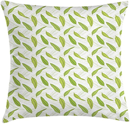 Leaves Throw Pillow Cushion Cover, Tropical Pattern with Banana Palm Leaf Monochrome Summer Aloha, Decorative Square Accent Pillow Case, 18' X 18', Apple Green and White