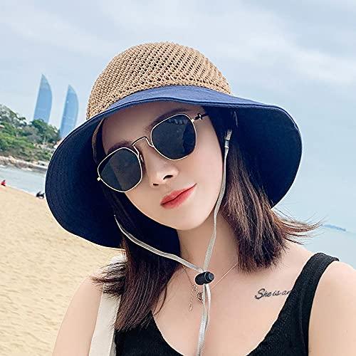 Geekcook Sombrero Mujer Elegante,Recorte Sol, paisajismo, Verano, pequeño, Sombrero Soleado, Red, Playa, Punto, Pescador-Azul Tibetano_Un código (56-58cm)