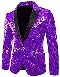 Sequins Jackets Mens Shiny Blazer Party Wedding Banquet Blazer Prom Tuxedo Purple