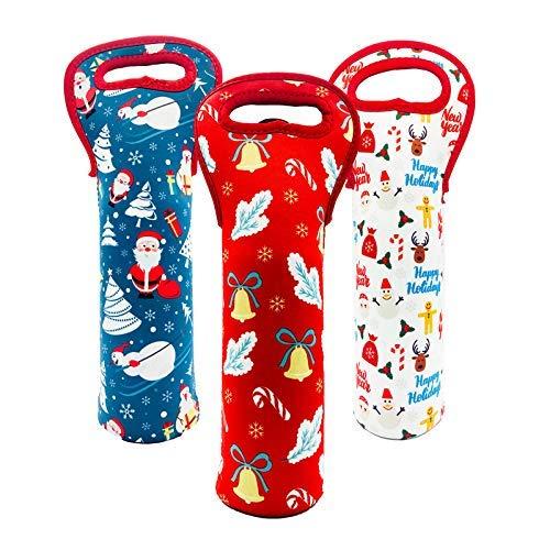 Paquete de 3 bolsas de transporte de vino de Navidad, 2020 de neopreno duradero para regalos de vino, bolsas reutilizables para botellas de vino y..