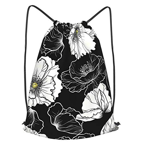 White Poppy Pattern Simple Sports Gym Drawstring Bag Backpack