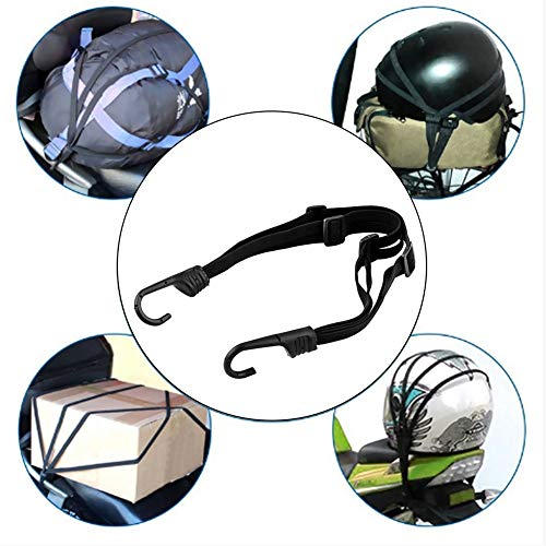 Mioloe Motorcycles Luggage Helmet Rubber Rope,Retractable Elastic Rope Strap Motorcycle Bike Equipment Cargo with Hooks
