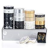 Vordas 20 Rollos Cinta Adhesiva Decorativa Dorada, Washi Tape Washi Glitter Adhesivo de Cinta Decorativa para DIY Crafts Scrapbooking