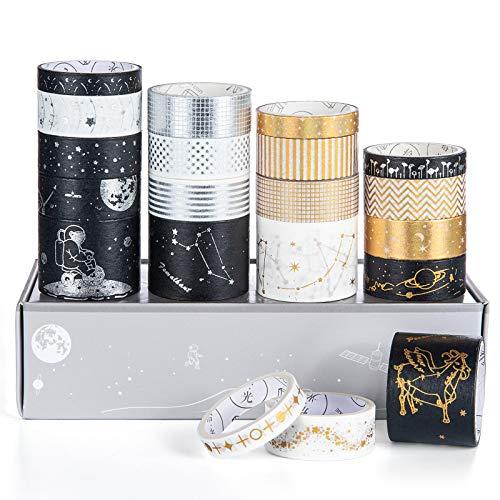 Cinta Adhesiva Decorativa, Vordas 20 Rollos de Washi Tapes, Lámina Dorada Masking Tape Set para Bullet Journal Scrapbooking DIY
