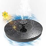 Solar Bird Bath Fountain Pump, Solar Powered Bionic Water Fountains Pump with 6 Nozzle Accessories, Drones for Camping, Dog Walking, Outdoor Activitie (Black)