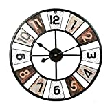 Reloj de Pared Decorativo Retro Grande - Cuarzo silencioso - Vintage Estilo Look-60 cm Reloj de Pared Retro de Hierro Forjado
