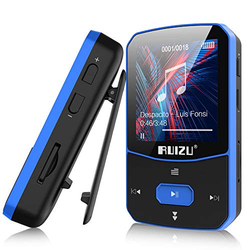 16GB Clip Mp3 Player with Bluetooth 5.0, Lossless Sound Music Player, with FM Radio Voice Recorder Video Earphones for Running, Support up to 128GB(Blue)