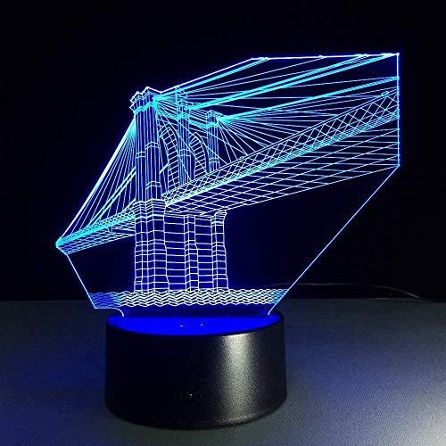 3D-Illusionslampe Brückenbau NachtlichtGeeignet für Kinder Familie Freunde Geburtstag Valentinstag Beste Geschenke für Weihnachten USB7 Farben(Fernbedienung)