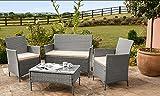 EIVD Juego de muebles de jardín de ratán de 4 piezas, 2 sillas, 1 sofá y mesa de café (color A1)