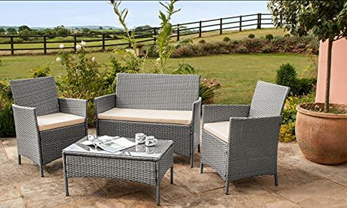 EIVD, set di mobili da giardino in rattan da 4 pezzi, set da bistrot con 2 sedie, 1 divano e tavolino (colore: A)