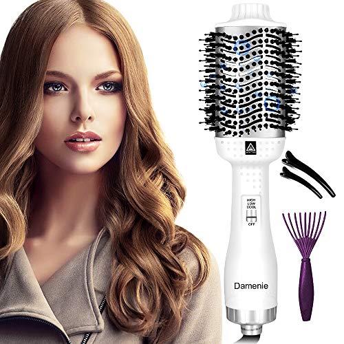 Damenie Secador de pelo multifunción, Upgrade 5 en 1, cepillo eléctrico de estilismo, cepillo de pelo, cepillo de aire caliente negativo, para todos los peinados (blanco y plateado)