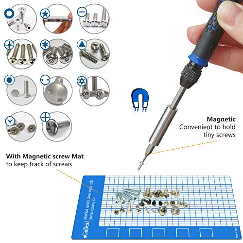 oGoDeal 132 in 1 Precision Screwdriver Set Professional Electronics Prying and Opening Repair Tool Kit for Fixing Computers, Laptops, PCs, iPhones, iPads, MacBooks, Eyeglasses, Toys, Xbox
