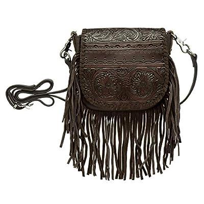 Montana West Genuine Leather Tooled Crossbody Purse For Women Western Handbag Cowgirl Shoulder Bag