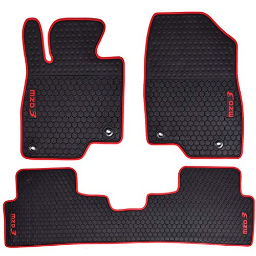 Megiteller Car Floor Mats Custom Fit for Mazda 3 Hatchback/Sedan 2014 2015 2016 2017 2018 2019 2020 2021 Odorless Washable Heavy Duty Rubber (All Weather) Floor Liners Front and Rear Set Christmas Red