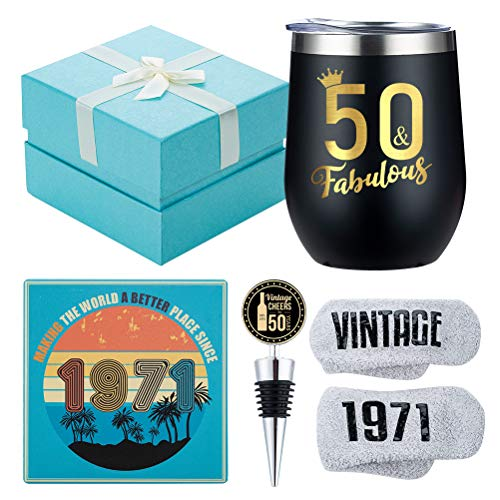 best gifts for co workers under 50 1971 50th Birthday Gifts for Women - 50 & Fabulous - Funny Wine Gift Set for 50th Birthday BFF, Best Friend, Sister, Coworker, Wife, Aunt - 50 Year Old Party Supplies Decorations for her