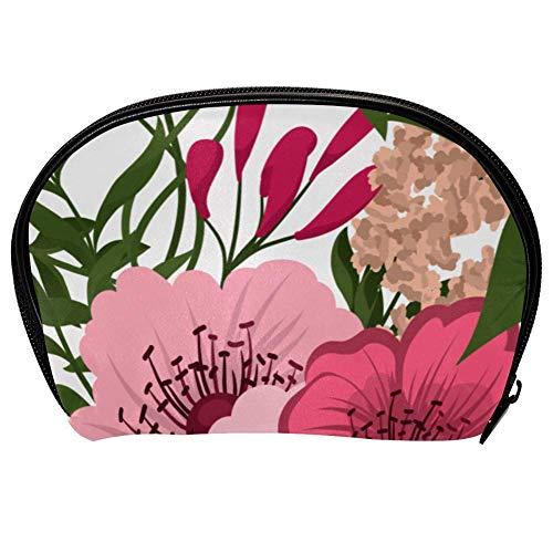 Bolsa universal espaciosa para maquillaje, cosméticos, cosméticos, cosméticos, kit de cuidado de la piel, bolsa con estampado floral, organizador portátil de accesorios electrónicos