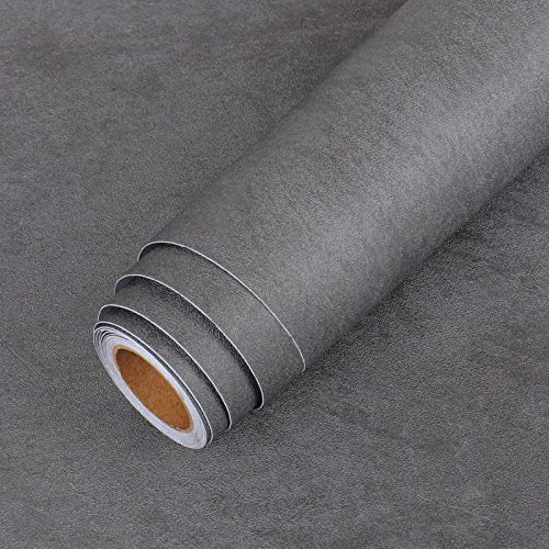 LaCheery Extra Thick Matte Concrete Wallpaper Stick and Peel Wall Paper Roll Dark Grey Vinyl Countertops Vintage Industry Concrete Textured Cement Contact Paper for Bedroom Walls Furniture 15.8'x80'