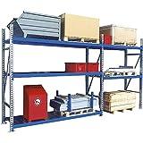 EUROKRAFTpro Weitspannregal | Regal | Werkstattregal | Lagerregal | Stahlböden verzinkt, HxTxL 2000x800x2700 mm Grundfeld, grün RAL 6011