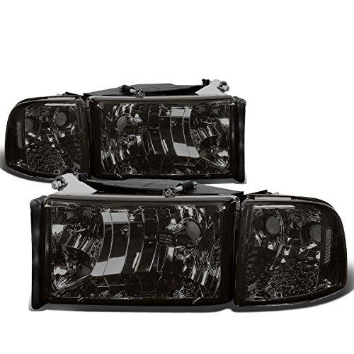 4Pcs Smoked Housing Clear Corner Headlight Corner Light Lamps Kit Replacement for Dodge Ram 1500 2500 3500 2nd Gen 94-02