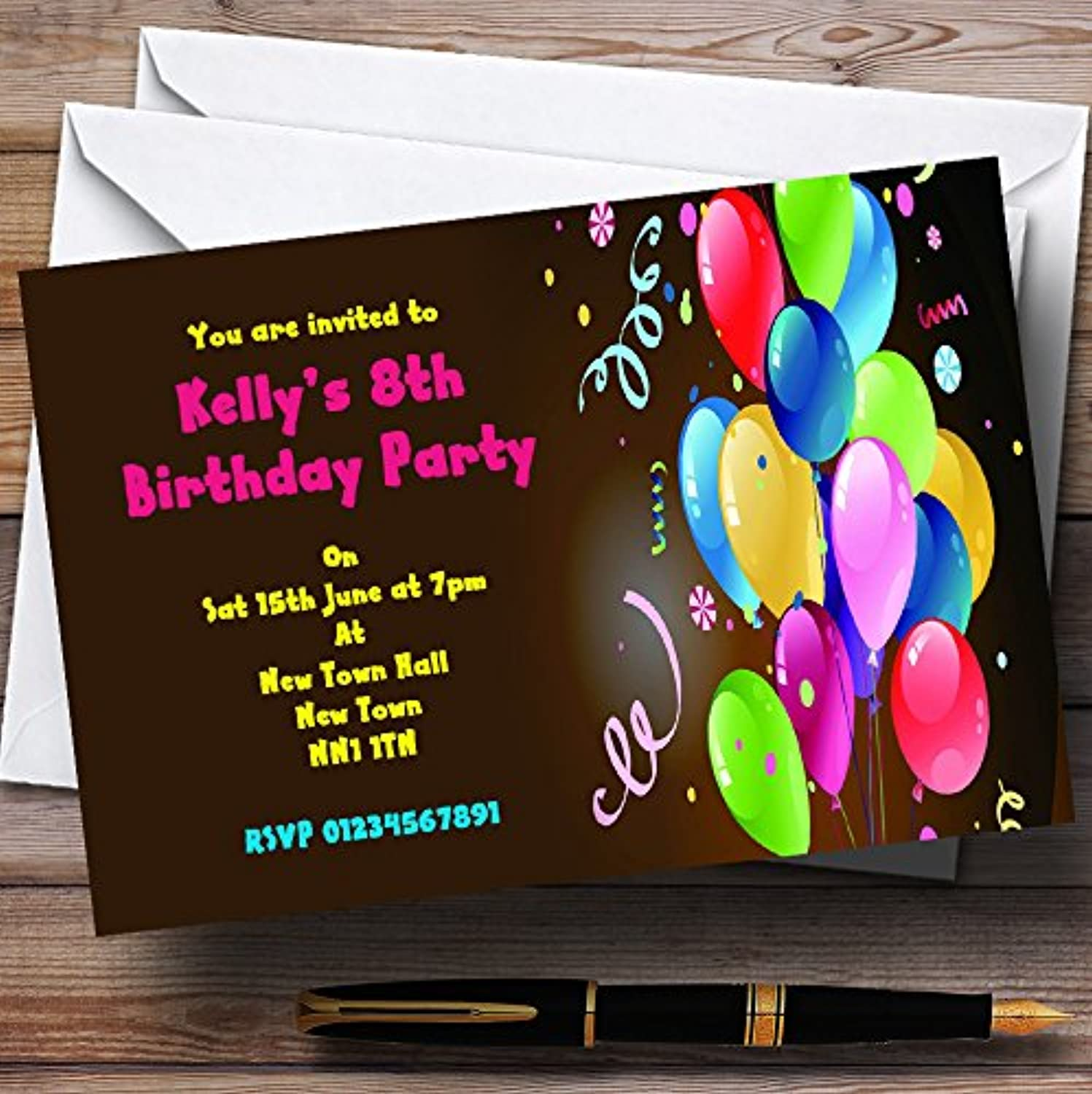 Party Balloons Personalised Party Invitations   Invites & Envelopes