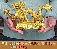 ホームラッキードラゴンデコレーション干支ゴールデンドラゴン風水用品工芸品ホームオフィスデコレーション-S