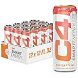 C4 Smart Energy Natural Zero Carbonated Energy Drink, Zero Calorie, Zero Sugar, Naturally Sweetened, Carb-Free Energy, Grapefruit, 12 Fl Oz (Pack of 12)