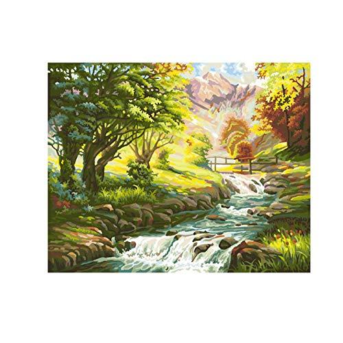 MONIYAOFAFA Digitale Schilderij Fiets Landschap Digitale Diy Digitale Muur Kunstfoto Voor Home Decoratie Gift Boom En Stream Kleurplaten Door Number-40x50
