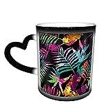 Oaieltj Tazas cambiantes de calor con hojas divertidas y palmera trópica, personalizadas, sensibles al calor, cambiantes, taza de café de cerámica, tazas de té de leche